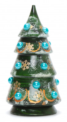 120 mm Christmas Wooden Green Tree with Hand Painted Garlands and Decorations