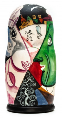 180 mm  The Village by Chagall hand painted on wooden Matryoshka doll 5 pcs (by Alexander Famous Paintings Studio)