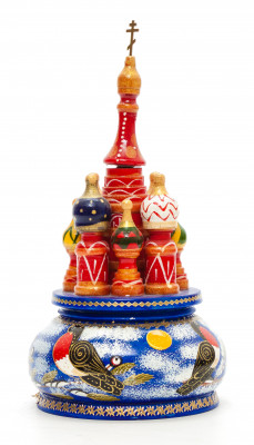 190 mm Saint Basil's Cathedral Bullfinch hand painted Wooden Music Box (by Nightingale Crafts)