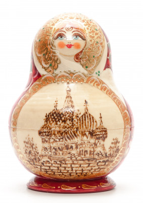 160 mm Moscow Saint Basil Cathedral hand painted burnt Matryoshka round Doll 10 pcs inside (by Valery Studio)