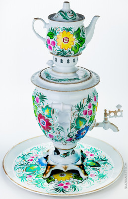 Summer Flowers Hand Painted Electric Samovar Kettle with Teapot and Tray