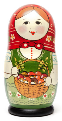 160 mm Maiden with the Basket of Mushrooms hand painted Traditional Russian Wooden Matryoshka doll 5 pcs (by Sergey Malyutin)