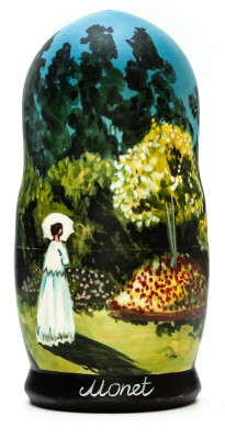 180 mm Woman in the Garden by Monet hand painted on wooden Matryoshka doll 5 pcs (by Alexander Famous Paintings Studio)