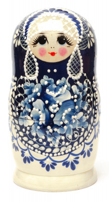 Gzhel Hand Painted Matryoshka Doll 5pcs
