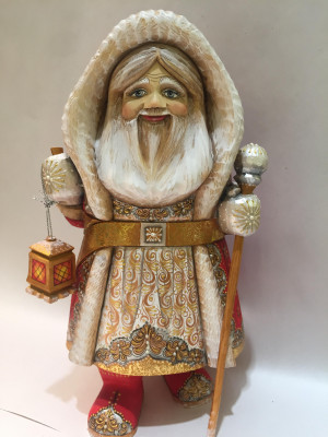 santa in a coat with a hood