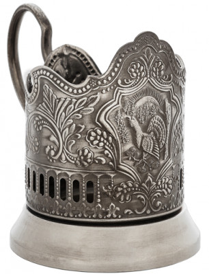 Capercaillie Nickel Plated Brass Tea Glass Holder with Faceted Glass (by Kolchugino)