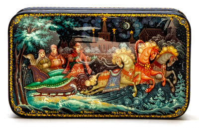 120x70mm Russian Troika Hand Painted Jewellery Box (by Pavel Studio)