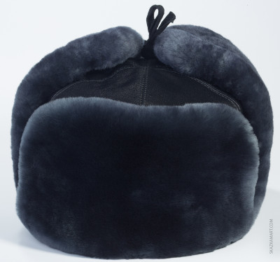 Blue Mouton & Leather Ushanka Winter Hat (by Golden Fleece)