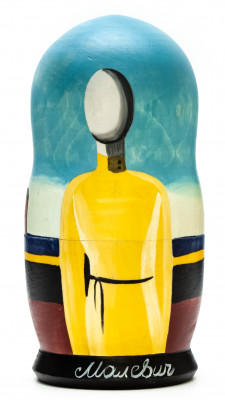 180 mm Torso in a Yellow Shirt (Complicated Premonition) by Malevich hand painted on wooden Matryoshka doll 5 pcs (by Alexander Famous Paintings Studio)