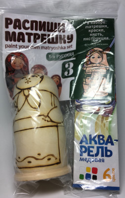 100 mm Blanc Matryoshka 1-st Russian doll 3 pcs inside with paints, brushes, instruction manual (by Sergey Carved Wooden Dolls)