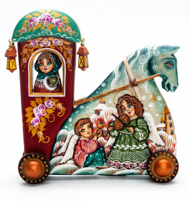 160 mm Carriage with hand painted Children Playing on the Outside World Wooden Statue (by Vladislav Toys)