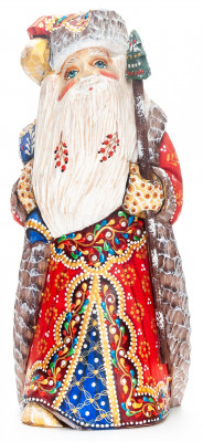 230 mm Santa Claus with a Magic Staff and a Bag Carved Wood Hand Painted Collectible Figurine (by Natalia Nikitina Workshop)