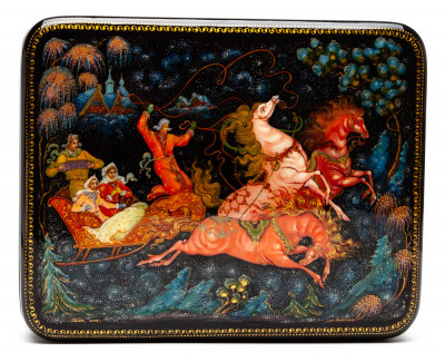 170x140mm Troika hand painted lacquered box from Palekh (by Pavel Studio)