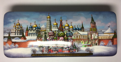 180 x 175 mm Snt Basil Cathedral and Moscow Kremlin daytime hand painted lacquered box from Fedoscino (by Mihail Studio)