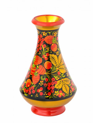 160x95 mm Khokhloma hand painted wooden Vase (by Golden Khokhloma)