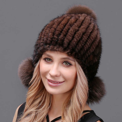 Mahogony Knitted Mink Fur Hat with 3 pompons