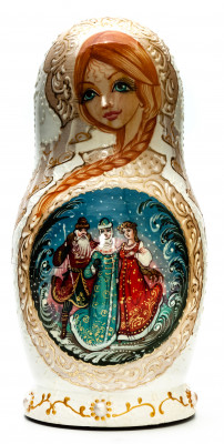 180 mm Snowmaiden handpainted Wooden Matryoshka Doll 5 pcs (by Sheherazade)