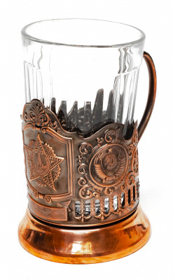 Order of Victory Pure Copper Tea Glass Holder with Faceted Glass (by Kolchugino)