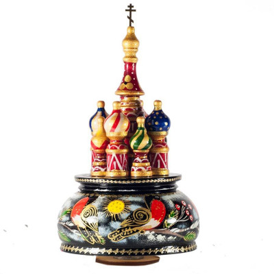 230 mm Saint Basil's Cathedral Bullfinch hand painted Wooden Music Box (by Nightingale Crafts)