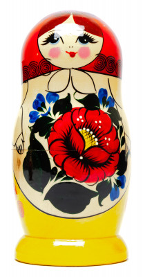 170 mm Russian Tradithional Semyonovskaya Hand Painted Matryoshka Doll 5pcs (by Alena Crafts)