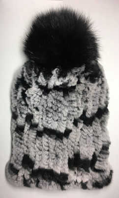 Grey and Black Rabbit Hair Knitted Women Hat (by Skazka Furs)