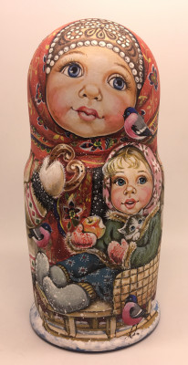 210 mm Girls playing with Cats and Dogs miniature hand painted wooden Matryoshka doll 7 pcs (by Nadezda Karpova Studio)