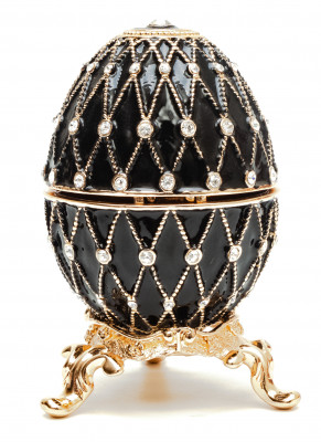 70 mm Black with the Clock and Rhinestones Easter Egg