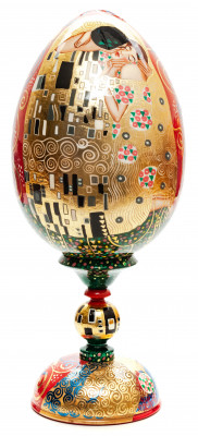 300 mm The Kiss by Klimt hand painted wooden Egg on stand (by Tatiana Crafts)