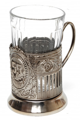Anniversary 55 Years Nickel Plated Brass Tea Glass Holder (by Kolchugino)