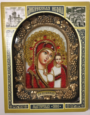 190x240 mm Kazanskaya Godmother Icon in wooden case with glass (by RA Souvenirs)