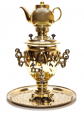 Golden Russia Electric Samovar with Teapot and Metal tray
