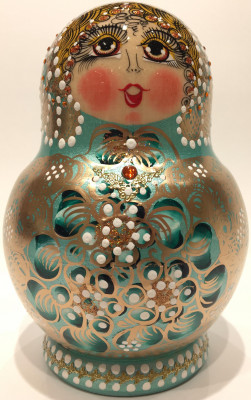 120 mm Russian North Pattern hand painted Wooden Matryoshka Doll 10 inside (by Snezana Studio)