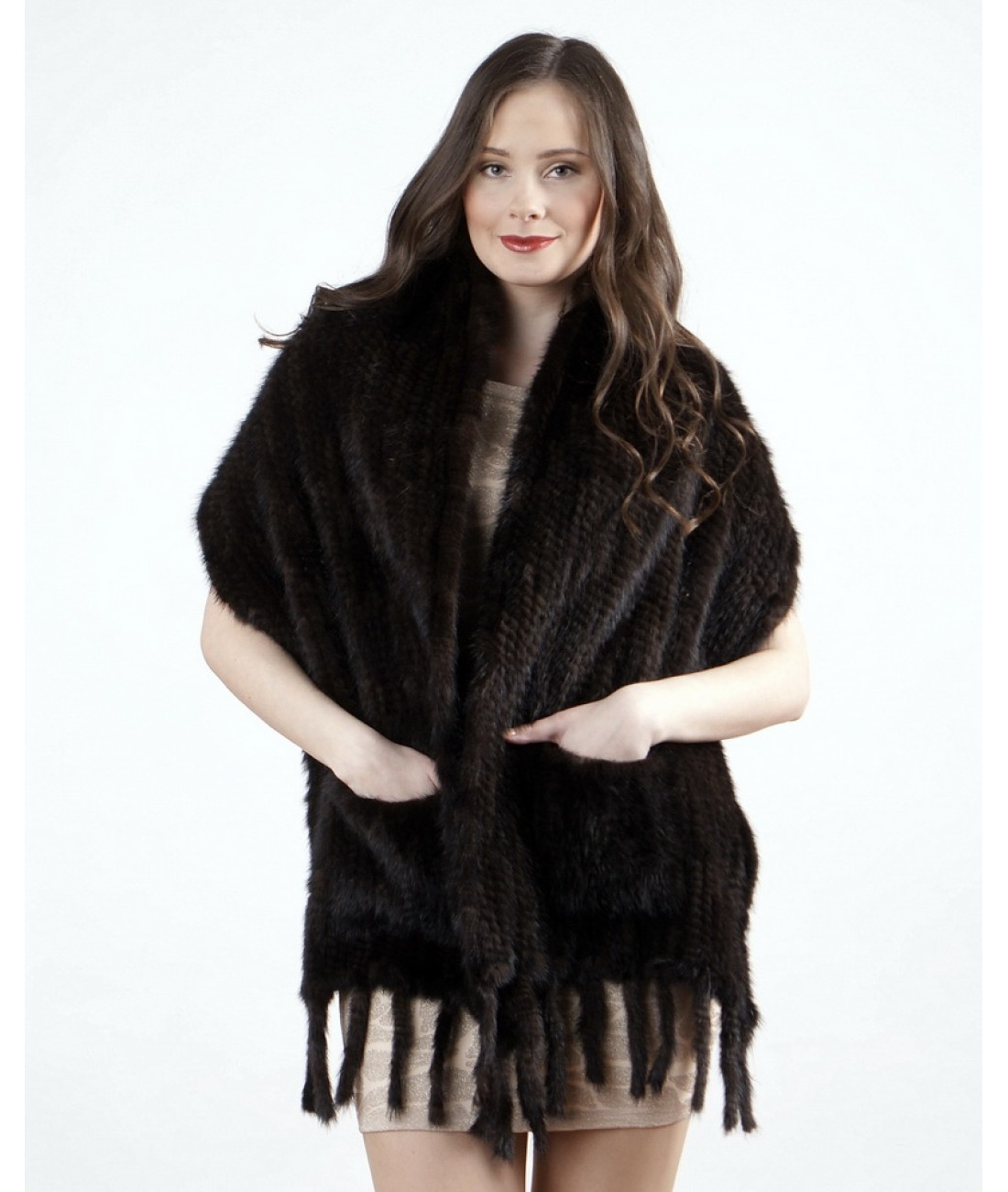 40cm Brown Mink Fur Stole