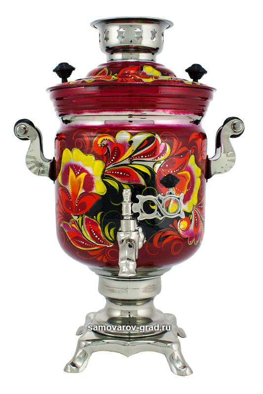 Flowers Hand Painted Electric Samovar Kettlewith Teapot and Tray