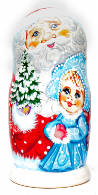 180 mm Santa Claus and Snowmaiden Princess hand painted wooden Matryoshka Doll 5 pcs (by A Studio)