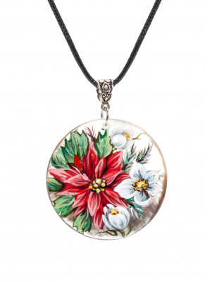 d50 mm Flowers hand painted Nacre Pendant (by Tatiana Shkatulka Crafts)