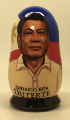 100 mm President of Philippines Rodrigo Duterte hand painted Matryoshka Doll 5 pcs (by Konstantin)