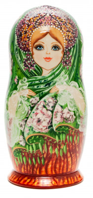 180 mm Flowers hand painted on Wooden Matryoshka doll 5 pcs (by Natalia Crafts)