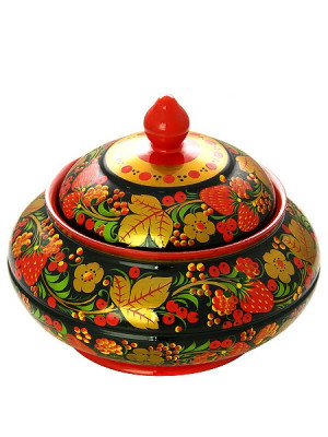 130x170 Russian Khokhloma hand painted Wooden Sugar Bowl with a Lid