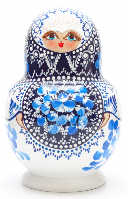 180 mm Gzhel patterns with bubbles hand painted wooden Matryoshka 15 pcs (by Valentina Studio)