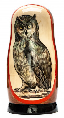 180mm Owl hand painted on wooden Matryoshka doll 5 pcs (by Alexander Famous Paintings Studio)