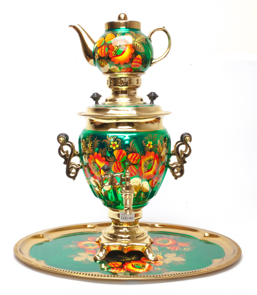 Poppies Hand Painted Electric Samovar Kettle with Teapot and Tray