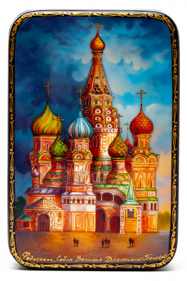 70x110mm Saint Basil Cathedral hand painted lacquered jewelery box (by Panferoff Studio)