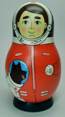 125 mm Spaceman hand painted Traditional Russian Wooden Matryoshka doll 5 pcs (by Igor Malyutin)
