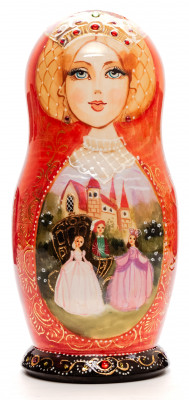 200 mm Cinderella fairytale hand painted wooden Matryoshka doll 5 pcs (by GOLDEN COCKEREL)