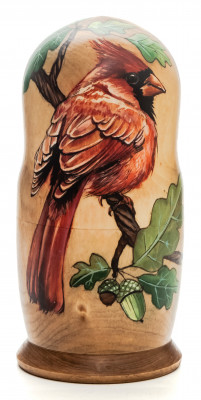 160mm Nothern Cardinal hand painted Matryoshka 5pcs (by Alexander Famous Paintings)