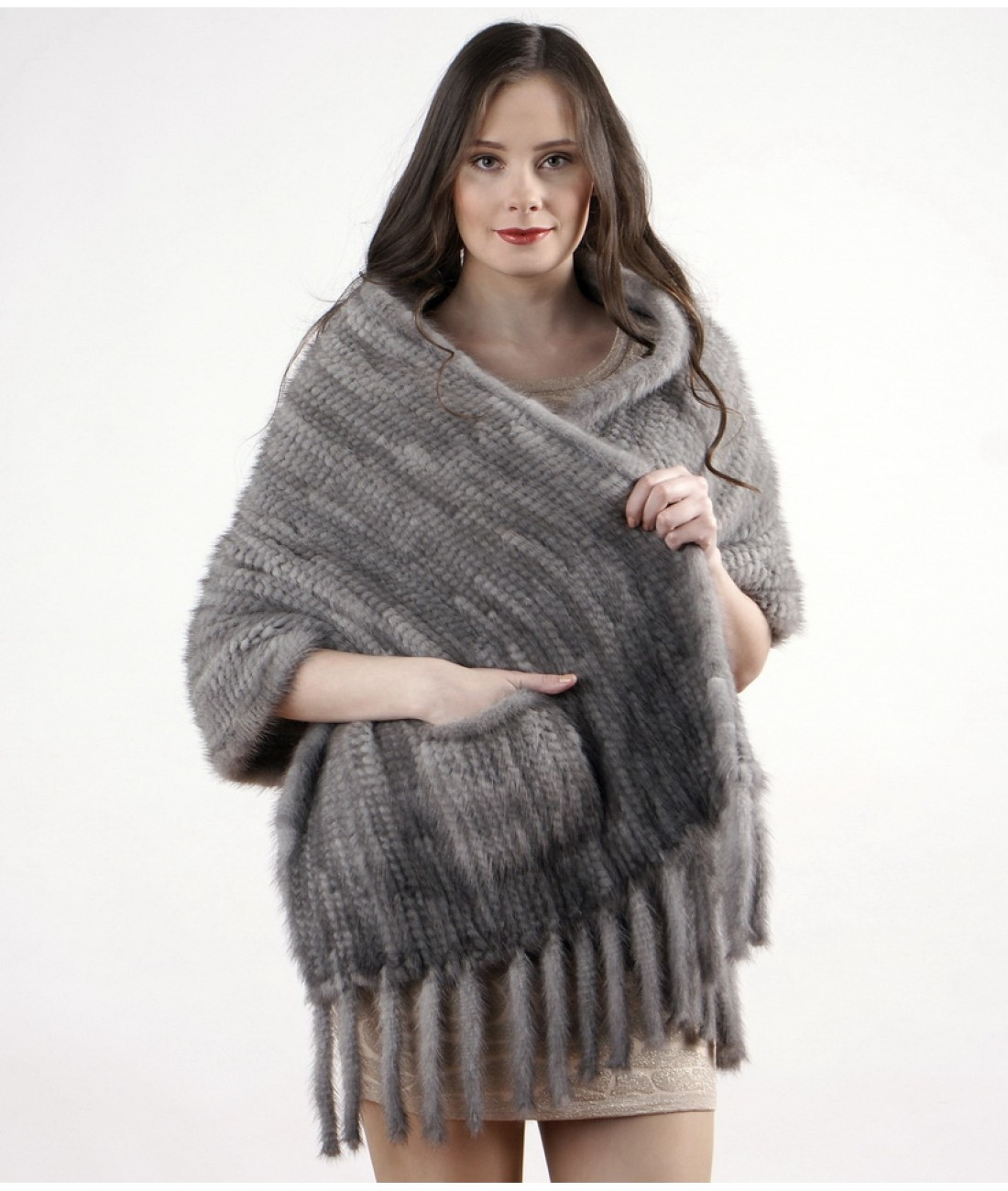 60cm Light Grey Mink Fur Stole