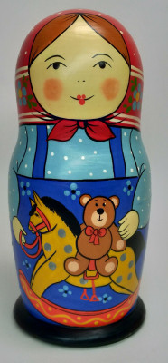 160 mm Mother with Toy hand painted Traditional Russian Wooden Matryoshka doll 5 pcs (by Igor Malyutin)