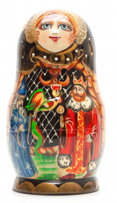 140 mm The Tale of Tsar Saltran hand painted on Wooden Matryoshka doll 5 pcs (by Valeria Crafts)