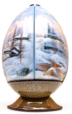 200x100mm Winter in the Village Hand Painted Jewellery Box (by Alexander G Studio)